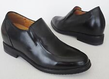 "Mens TOTO 3.3"" Taller Elevator Height Increase Black Leather Slip On Shoes 8 260"