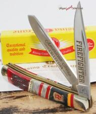 Kissing Crane Limited Fireman Firefighter 2 Blade Red BoneTrapper Pocket Knife