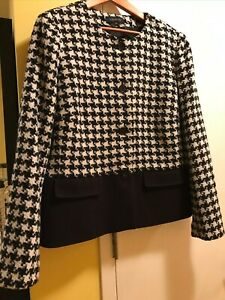 Brand NEW Talbots Miss Houndstooth Colorblock White/Black Jacket Size 18
