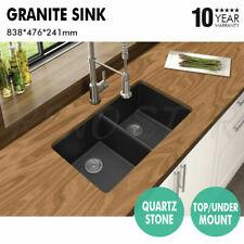 838*476*241mm Black Granite Quartz Stone Sink 2 Bowl Top/Under Mount for Kitchen