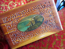"True Vintage 1950's 10x6x4"" Relic Wooden Cedar Chest Hippie Jewelry Box Case"