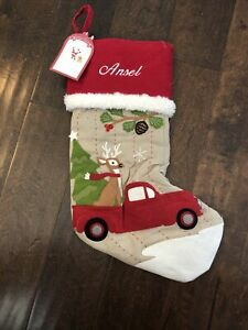 New Pottery Barn Kid Woodland Reindeer Red Truck Christmas Stocking Mono Ansel
