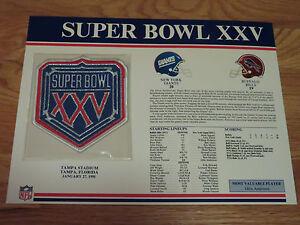 "Super Bowl XXV NEW YORK GIANTS vs BUFFALO BILLS 4"" Patch OTTIS ANDERSON MVP"