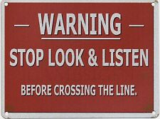 Warning Trains Crossing, Miniature/Model Railway Line, Small Metal/Tin Wall Sign
