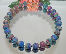 modeschmuck Halskette KETTE FIMO Clay  SPIRALE multicolor mehrfarbig bunt  447y