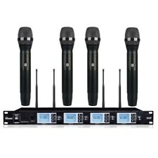 Four Channel Wireless Microphone System Vocal Performance Radio 4 Handheld mics