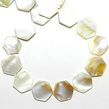 """MP733 Natural White 15mm Flat Hexagon Mother of Pearl Gemstone Shell Beads 16"""""""