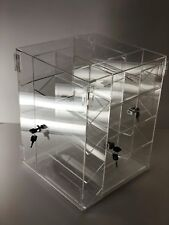 Acrylic Counter Locking Jewelry Display Case Spinner Vertical 4 Sided Display