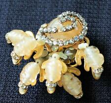 Vntg Signed MIRIAM HASKELL Goldtone Wired Beige Accented Rhinestones Pin Brooch