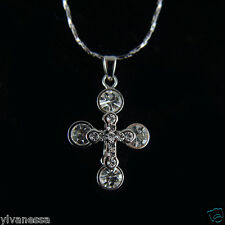14k white Gold GF with Swarovski crystals necklace cross pendant