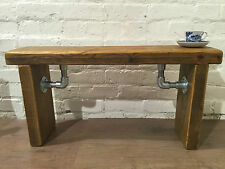 Industrial Scaffold Steel Pipe Rustic Reclaimed Solid Pine Seating Dining BENCH