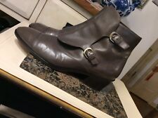 J.CREW 07041 Taupe leather Women's buckle Ankle Boots Sz 8M ,Made in Italy