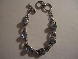 "Sterling Silver Bali Artisan Blue Topaz Bracelet Hardy Caviar Style 7.5"" WOW"