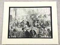 1875 Antik Aufdruck Mansion House London Internationale Municipal Banquet Hall