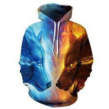Unisex Man Women Galaxy 3D Hoodie Pullover Jumper Sweatshirts Wolf Lion Tiger