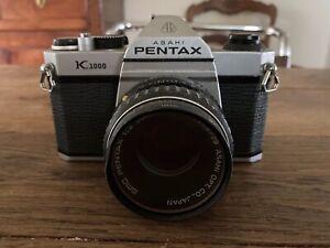 Pentax K1000 50 mm lens Kit 35mm SLR Film Camera