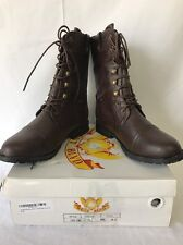 WEST BLVD WOMENS LAGOS COMBAT ARMY FOLDOVER BOOTS SHOES BROWN 8.5 NEW! $75