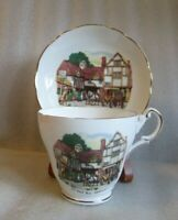 🐴Vintage REGENCY BONE CHINA ENGLAND Old Coach House Woolhampton Tea CUP SAUCER!