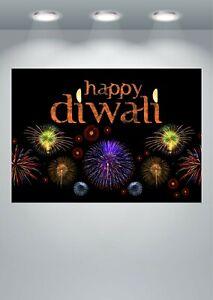 Happy Diwali Celebration Large Poster Art Print in multiple sizes