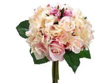 """11"""" Artificial Rose & Hydrangea Bouquet Fuchsia/Pink (pack of 6) Silk Flower"""