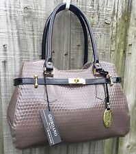 Giordano Made in Italy Taupe & Black Patent Leather Embossed Satchel Handbag
