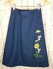 Vtg Navy Blue A Line Wrap Skirt Sz S 2 4 Hand Painted Mouse Daisies Pretty