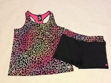 Girls TCP Active Shorts Tank Top Outfit Sz 14 Animal Print Moisture Wicking