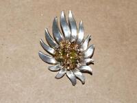 Vtg CONDA Sterling Silver Gold Wash Nugget & Peridot Flower Necklace Pendant 7gr