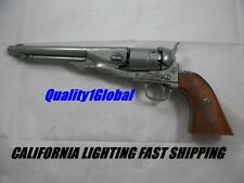 REAL WOOD GRIPS AND SILVER METAL REPLICA M1860 REVOLVER 44 MOVIE PROP PISTOL GUN