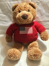 SAKS Department Store Bear Plush Soft Toy Red USA Flag Sweater 2001 Bergner's