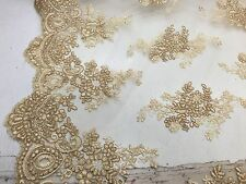 Gold Flowers Embroider On A Mesh Lace.wedding-bridal-prom-nightgown Fabric-yard.