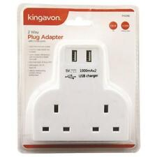 Kingavon 2 Way Plug Adaptor W/ 2 USB Ports 1st Class Same Day DISPATCH