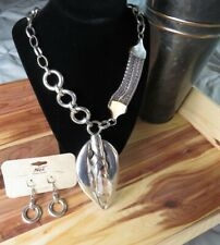 Noi Silver Tone Goth Mutli Chain Link Crystal Pendant Statement Necklace Earring