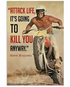 Vintage Attack Life It's Going To Kill You Anyway Steve Mcqueen Poster
