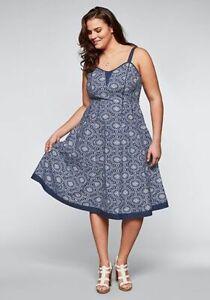 NEU & TRENDY Marken Sommer-Kleid von Sheego, Gr.44,46,50, 54 marine