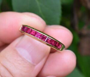 Tiffany & Co 18K Gold Square Cut Ruby Channel Set Eternity Wedding Band Ring