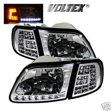 1997-2002 FORD F150 EXPEDITION LED CRYSTAL HEADLIGHTS LIGHTBAR LIGHT LAMP CHROME
