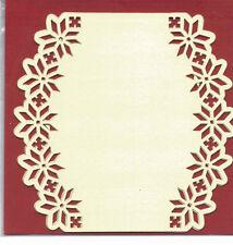 Couche de carte de luxe cartes perforées, lot de 3, oval crème, Poinsettia bpm5717