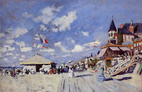 Art Oil painting Claude Monet - The Boardwalk on the Beach at Trouville canvas