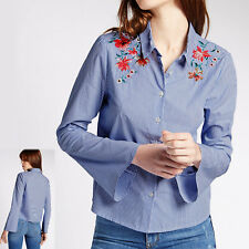 M&s Limited Striped Floral Embroidered Blue Cotton Shirt Size 12 Immaculate