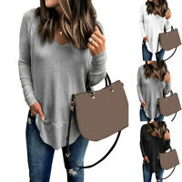 Fashion Womens V-Neck Casual Long Sleeve Solid T Shirt Pullover Top Blouse UK