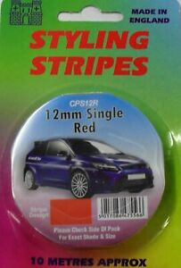 Red 12mm x 10mtr Self Adhesive Car Pin Stripe Coach Tape Bumper Insert Stripe