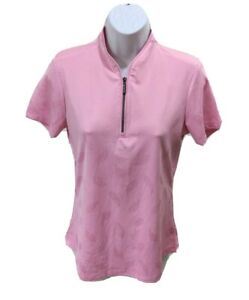 Greg Norman Play Dry Womens Golf Polo Shirt S Paisley Short Sleeve 1/4 Zip Pink