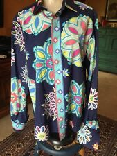 EMILIO PUCCI Vintage Signature Print Cotton Button Down Blouse Italy L Gorgeous!
