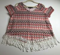 Almost Famous Women's Cold Shoulder Short Sleeve Blouse Top 1X Plus Boho Groovy