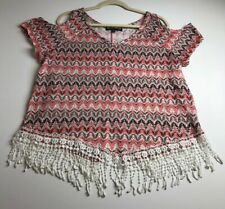 New listing Almost Famous Women's Cold Shoulder Short Sleeve Blouse Top 1X Plus Boho Groovy