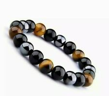 Mens Ladies 10mm Black Onyx Tigers Eye Hematite Natural Stone Energy Bracelet UK