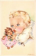 Artist signed postcard f. Ballus ? baby with black americana or african doll