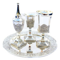 Havdalah Set Shabbat Kodesh Judaica Silver plating with lacquer filigree Design