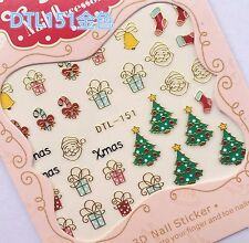 Christmas GOLD Xmas Tree Santa Gift Stocking Candy Cane Nail Art Sticker Decal